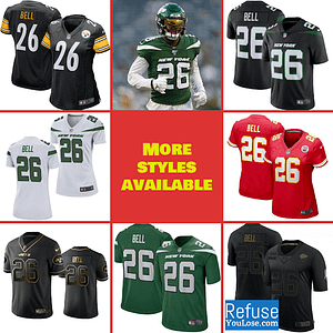 Le'Veon Bell Football Jersey for Men, Women, or Youth color: Kansas City Chiefs Home|Kansas City Chiefs Road|Kansas City Chiefs Salute to Service|New York Jets Alternate Black|New York Jets Black V-Neck|New York Jets Home|New York Jets Road|Pittsburgh Steelers Alternate Black|Pittsburgh Steelers Home|Pittsburgh Steelers Road  Refuse You Lose