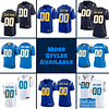 Los Angeles Chargers Jersey For Men, Women, or Youth   Customizable color: Alternate Navy Blue Black V-Neck Alternate Royal Blue City Edition Pro Bowl Salute to Service Home Road  Refuse You Lose