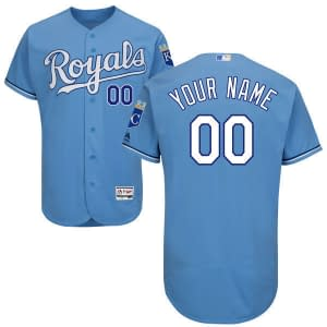 Kansas City Royals MLB Baseball Jersey For Men, Women, or Youth (Any Name and Number) color: 2018 Nickname 2019 Alternate Light Blue 2019 Alternate Royal Blue 2019 Nickname 2020 Alternate Light Blue 2020 Home 2020 Road 2019 Home 2019 Road Memorial Day  Refuse You Lose