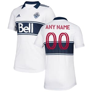 Vancouver Whitecaps FC Jersey for Men, Women, or Youth | Customizable color: 2020 Home|2020 Road|2021 Home|2018 Home|2018 Road|2019 Home  Refuse You Lose