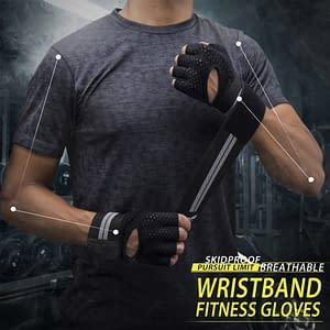 Unisex Half Finger Lifting Gloves with Wrist Wrap Support Refuse You Lose color: Black|Pink