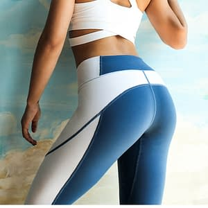 High Waisted Patchwork Sports Women's Leggings Refuse You Lose color: Blue|Gray