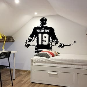 Hockey Wall Art – Custom Name Hockey Decal Hockey Wall decor – Ice Hockey vinyl sticker – Choose Name and Jersey Numbers A1-047 color: Black|Blue|Coffee|England|Gold|Gray|Pink|White|Yellow|Argentina|Green|Light Grey|Russia  Refuse You Lose https://refuseyoulose.com