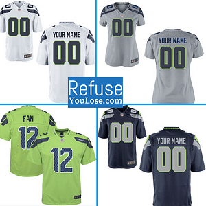 Seattle Seahawks NFL Football Jersey For Men, Women, or Youth (Any Name and Number) brand: Refuse You Lose  Refuse You Lose