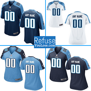 Tennessee Titans NFL Football Jersey For Men, Women, or Youth (Custom Name and Number) color: Alternate Away Home  Refuse You Lose