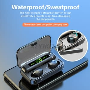 Bluetooth Wireless Headphones with Mic Sports Waterproof TWS Bluetooth Earphones Touch Control Wireless Headsets Earbuds Phone color: Black 3|Black 4|black 1|black 2|BLACK WHITE  Refuse You Lose