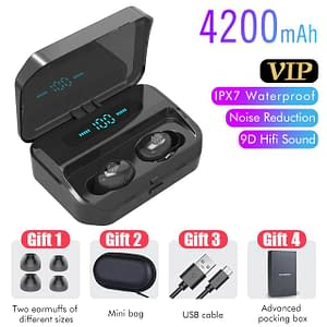 4200mAh TWS Bluetooth 5.0 Eaphones With Charging Case Wireless Earphone IPX7 Waterproof Earbuds Sport 9D Stereo Touch Control color: 4200mAh AS SHOWN  Refuse You Lose