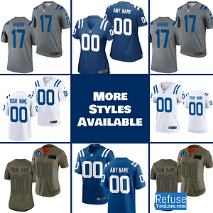 Indianapolis Colts Jersey For Men, Women, or Youth | Customizable color: Black V-Neck|Gray|City Edition|Pro Bowl|Salute to Service|Home|Road  Refuse You Lose
