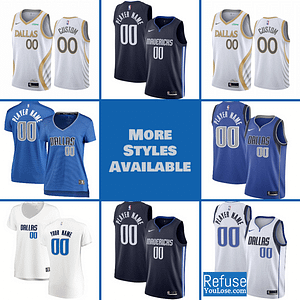 Dallas Mavericks Jersey For Men, Women, or Youth | Customizable color: Classic|Alternate Navy|City Edition|Home|Road  Refuse You Lose