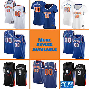 New York Knicks Jersey For Men, Women, or Youth | Customizable color: Alternate Blue|City Edition|Home|Road  Refuse You Lose