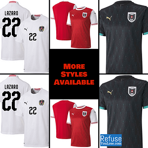 Austria Soccer Jersey For Men, Women, or Youth | Customizable color: 2020-2021 Home|2020-2021 Road|2018-2019 Road  Refuse You Lose
