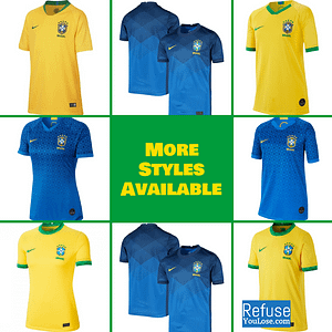 Brazil Soccer Jersey For Men, Women, or Youth | Customizable color: 1919 Anniversary|2020-2021 Home|2020-2021 Road|2019-2020 Home|2019-2020 Road|2018-2019 Home|2018-2019 Road  Refuse You Lose