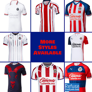 Chivas Soccer Jersey For Men, Women, or Youth | Customizable color: 2020-2021 Home|2020-2021 Road|2019-2020 Home|2019-2020 Road|2019-2020 Third|2018-2019 Home|2018-2019 Road|2018-2019 Third  Refuse You Lose