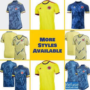 Colombia Soccer Jersey For Men, Women, or Youth | Customizable color: 2020-2021 Home|2020-2021 Road|2019-2020 Home|2019-2020 Road|2018-2019 Home|2018-2019 Road  Refuse You Lose