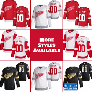 Detroit Red Wings Jersey For Men, Women, or Youth | Customizable color: Black Golden|Reverse Retro|Home|Road  Refuse You Lose