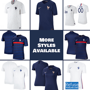 France Soccer Jersey For Men, Women, or Youth | Customizable color: 2020-2021 Home|2020-2021 Road|2019-2020 Home|2019-2020 Road|2018-2019 Home|2018-2019 Road  Refuse You Lose