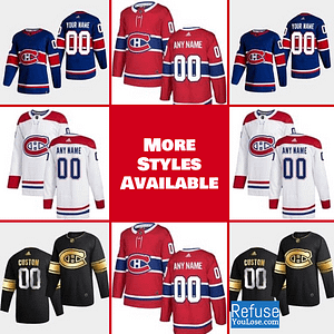 Montreal Canadiens Jersey For Men, Women, or Youth | Customizable color: Black Golden|Reverse Retro|Home|Road  Refuse You Lose