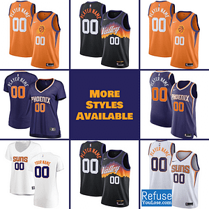 Phoenix Suns Jersey For Men, Women, or Youth | Customizable color: Alternate Orange|City Edition|Home|Road  Refuse You Lose