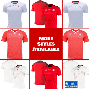 Switzerland Soccer Jersey For Men, Women, or Youth | Customizable color: 2020-2021 Home|2020-2021 Road|2018-2019 Home|2018-2019 Road  Refuse You Lose