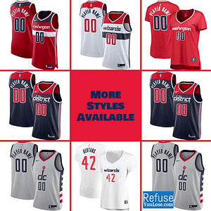 Washington Wizards Jersey For Men, Women, or Youth | Customizable color: Alternate Navy|City Edition|Home|Road  Refuse You Lose