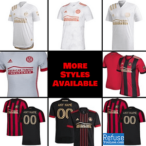 Atlanta United FC Jersey for Men, Women, or Youth | Customizable color: 2021 Home|2021 Road|2020 Home|2020 Road|2018 Home|2018 Road|2019 Home|2019 Road  Refuse You Lose