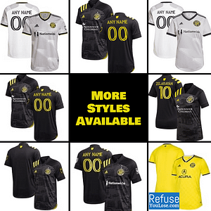 Columbus Crew SC Jersey for Men, Women, or Youth | Customizable color: 2021 Home|2021 Road|2020 Road|2019 Home|2019 Road  Refuse You Lose