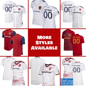 Real Salt Lake Jersey for Men, Women, or Youth | Customizable color: 2021 Road|2020 Home|2020 Road|2018 Home|2018 Road|2019 Road  Refuse You Lose