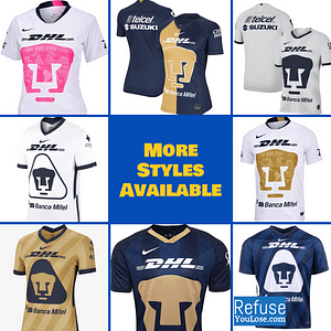 UNAM Pumas Soccer Jersey For Men, Women, or Youth | Customizable color: 2020-2021 Home|2020-2021 Road|2020-2021 Third|2019-2020 Home|2019-2020 Road|2019-2020 Third|2018-2019 Home|2018-2019 Road|2018-2019 Third  Refuse You Lose