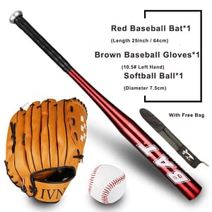 Baseball Set For Kids or Teenagers (Bat, Glove, and Ball) color: Black|Blue|Red|Gold|Silver  Refuse You Lose