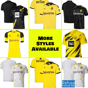 Borussia Dortmund Soccer Jersey For Men, Women, or Youth | Custom color: 2020-2021 Home|2020-2021 Road|2020-2021 Third|2019-2020 Home|2019-2020 Road|2018-2019 Home|2018-2019 Road  Refuse You Lose