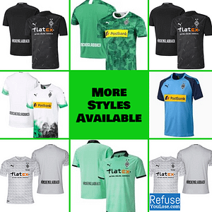 Borussia Mönchengladbach Jersey for Men, Women, or Youth | Custom color: 2020-2021 Home|2020-2021 Road|2020-2021 Third|2019-2020 Home|2019-2020 Road|2019-2020 Third  Refuse You Lose