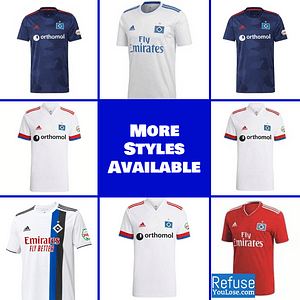 Hamburger SV Soccer Jersey for Men, Women, or Youth | Customizable color: 2020-2021 Home|2020-2021 Road|2019-2020 Home|2018-2019 Home|2018-2019 Road  Refuse You Lose