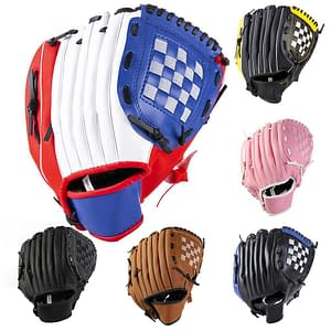 Outdoor Sports Youth Adult Left Hand Training Practice Softball Baseball Gloves Ball Sporting Accessories for Hands Protection color: Black|Blue|Red|Pink|Yellow|BROWN  Refuse You Lose