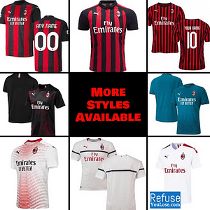 AC Milan Soccer Jersey for Men, Women, or Youth | Customizable color: 2020-2021 Home|2020-2021 Road|2020-2021 Third|2019-2020 Home|2019-2020 Road|2019-2020 Third|2018-2019 Home|2018-2019 Road|2018-2019 Third  Refuse You Lose