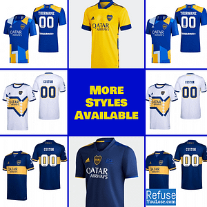 Boca Juniors Soccer Jersey for Men, Women, or Youth | Customizable color: 2021-2022 Third|2020-2021 Home|2020-2021 Road|2020-2021 Third|2020-2021 Fourth  Refuse You Lose