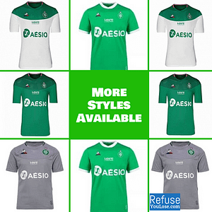 AS Saint-Étienne Jersey for Men, Women, or Youth | Customizable color: 2020-2021 Home|2019-2020 Home|2019-2020 Road|2019-2020 Third  Refuse You Lose