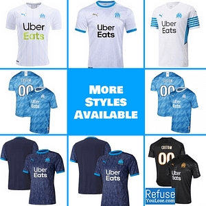 Olympique de Marseille Jersey for Men, Women, or Youth | Customizable color: 2021-2022 Home|2020-2021 Home|2020-2021 Road|2020-2021 Third|2019-2020 Home|2019-2020 Road|2019-2020 Third  Refuse You Lose