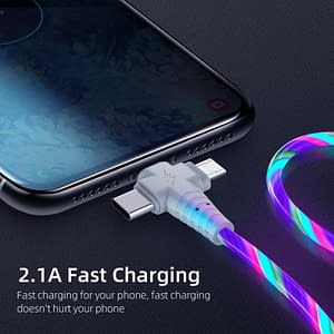 3 In 1 LED USB Charger color: Blue Red Multi Green  Refuse You Lose