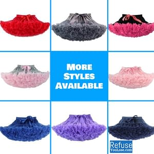 Baby Girl Tutu Skirt for Parties, Dances, and Events color: Aqual blue mixed|bean sand color|Black|black hot pink|blue and hot pink|blue with royal blue|Dark Gray|deep red|grey and pink|hot pink and purple|ivory and pink|peach|peach and Coral|Pink|pink and aqual blue|pink and hot pink|watermelon red|Hot Pink|Light Purple|Navy Blue|Royal Blue  Refuse You Lose