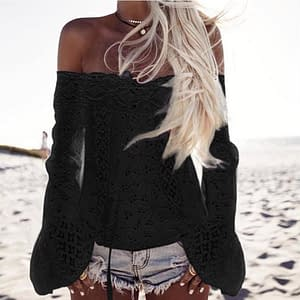 Sexy Long Sleeve Flower Blouse color: Black|White  Refuse You Lose