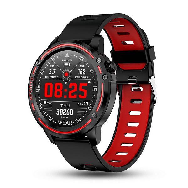 Red Smartwatch with Heart Rate Monitor