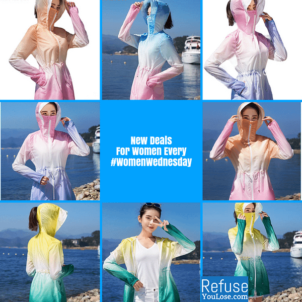 Lightweight Summer Coat with Face Cover For Women color: Blue pink Orange pink Pink / Purple Yellow green  Refuse You Lose