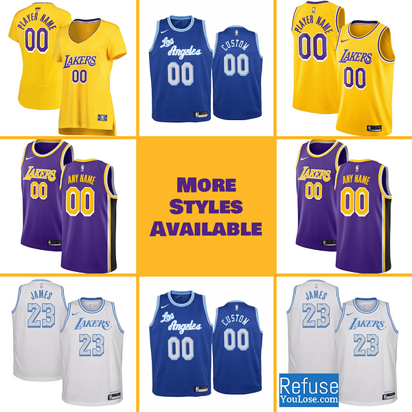 Los Angeles Lakers Jersey For Men, Women, or Youth   Customizable color: Alternate Purple Classic City Edition Home Road  Refuse You Lose