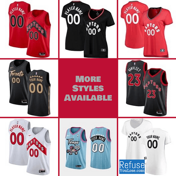 Toronto Raptors Jersey For Men, Women, or Youth   Customizable color: Tampa Alternate Black City Edition Home Road  Refuse You Lose