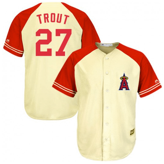 Mike Trout Los Angeles Angels Cream MLB Baseball Jersey