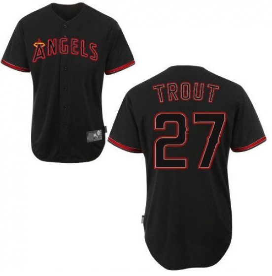 Mike Trout Los Angeles Angels Black MLB Baseball Jersey