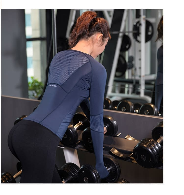 Women's Solid Color Long Sleeve Sports Top
