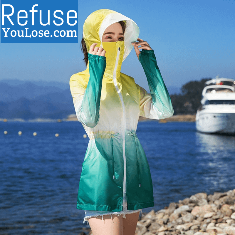 Green Yellow Lightweight Summer Jacket with Face Covering