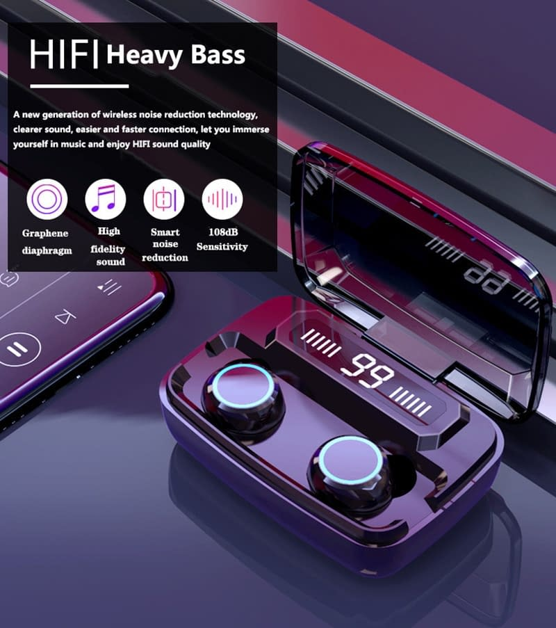 Wireless Bluetooth Headphones with 3500 mAh Charging Case