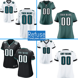 Philadelphia Eagles NFL Football Jersey For Men, Women, or Youth (Any Name and Number) Refuse You Lose color: White|Midnight Black|Midnight Green